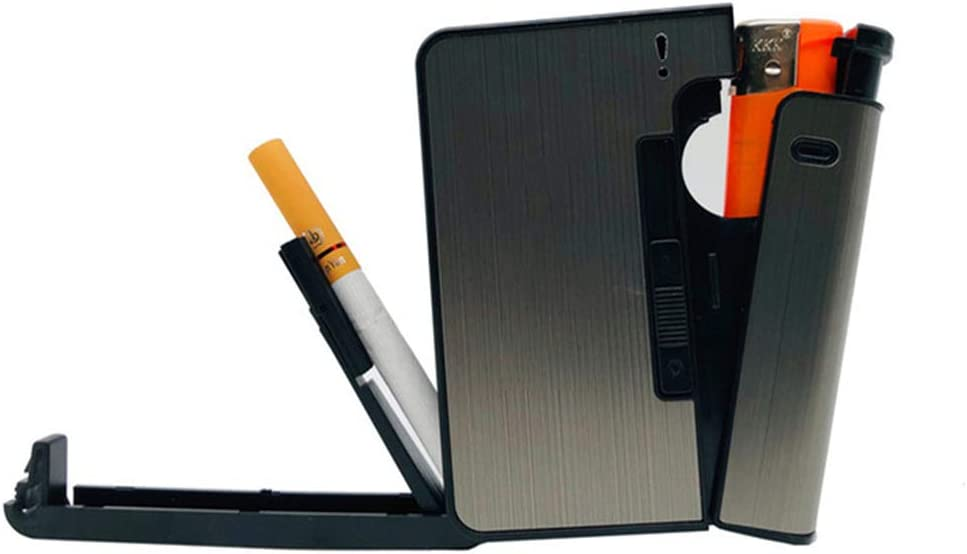 Pitillera XYDBB Cajas De Cigarrillos De Metal Portátiles con Queroseno Aceite Encendedor 10pcs Caja para Hombres Muestra-3 Gris