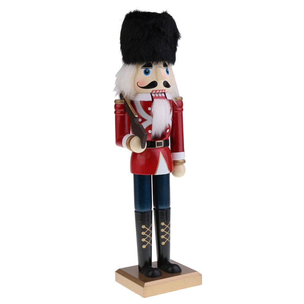 MonkeyJack 15'' Height Handmade Wooden Soldier Nutcracker Puppet Figure in Classical Suit Christmas Ornaments Dark Red