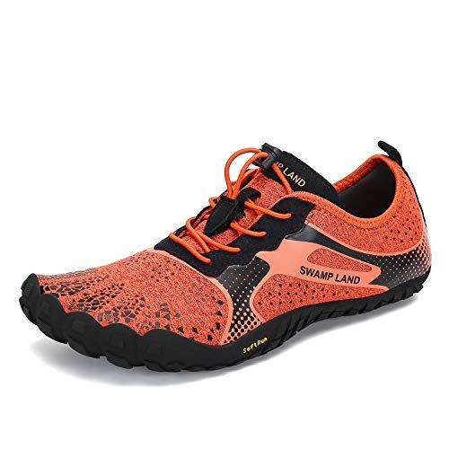 - Mishansha Men's Women's Barefoot Hiking Trail Running Walking Shoe Orange 7 M US Women / 6 M US Men