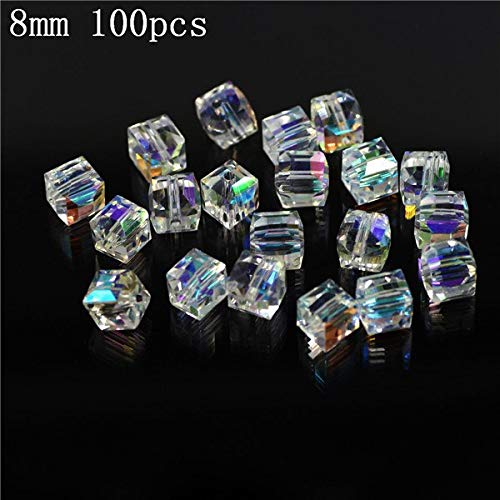 - Calvas Wholesale Crystal Glass Clear AB Cube Beads 2/3/4/6/8/10mm Faceted Square Beads Crafts DIY Making Accessories Bracelet - (Color: 8mm 100pcs)