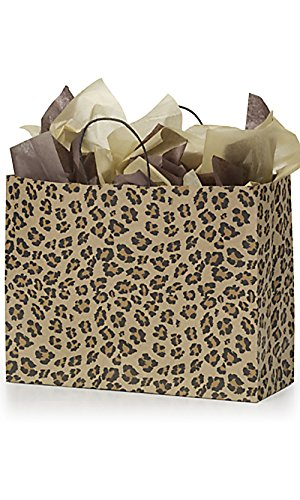 Count of 100 New Retail Large Leopard Brown Print Paper S...