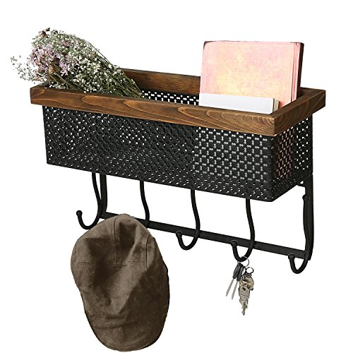 Metal Wall Mounted Wood Trim Coat Rack, Key Hooks with Storage Basket