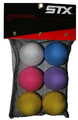 STX Lacrosse Balls in Mesh Bag (Pack of 6), Assorted Colors