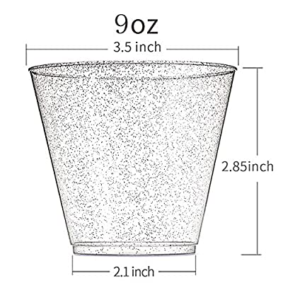 WDF 200pcs 9OZ Silver Cups, Disposable Silver Glitter Plastic Cups-Premium Wedding Cups-Party Cups