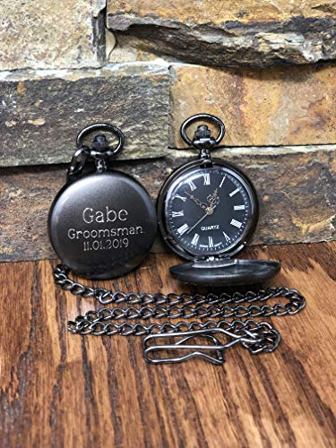 (Personalized Gunmetal Pocket Watch Custom with Monogram Engraved - Gifts for Men- Best man - Groomsman - Christmas - Monogrammed)