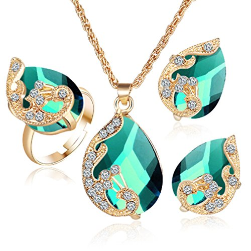 Dolland Womens Gold Plated Teardrop Crystal Pendant Necklace Earrings Set Wedding Bridal Jewelry Sets,Green