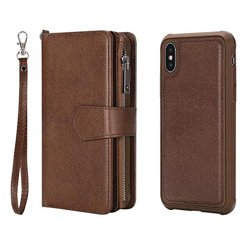 premium selection 17177 df8a8 SHERIC Wallet Case for iPhone XR, Folio Flip Case with Kickstand Card  Holders Wristlet Magnetic Detachable Back Case, Folding Stand Protective  Cover ...