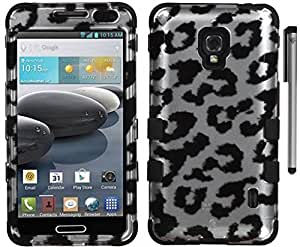 For LG Optimus F6 D500 Tuff Hybrid Cover Case with Stylus Pen and ApexGears Phone Bag (Silver Black Leopard)