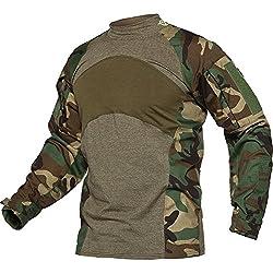 TACVASEN Tactical Combat Quick Dry Shirt Military Duty Uniform Hunting T-Shirt Jungle