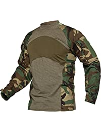 8d1090fea4b8 Men s Slim Fit Combat Rapid Assault Shirt Tactical Airsoft Camo Long Sleeve  Shirts