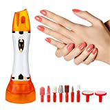 Manicure Pedicure Set, Dpowro 9 in 1 Professional Nail File Drill Buffer System, Shine Buff Fingernails Toenails Tools with Matte Head, LED Light (White)