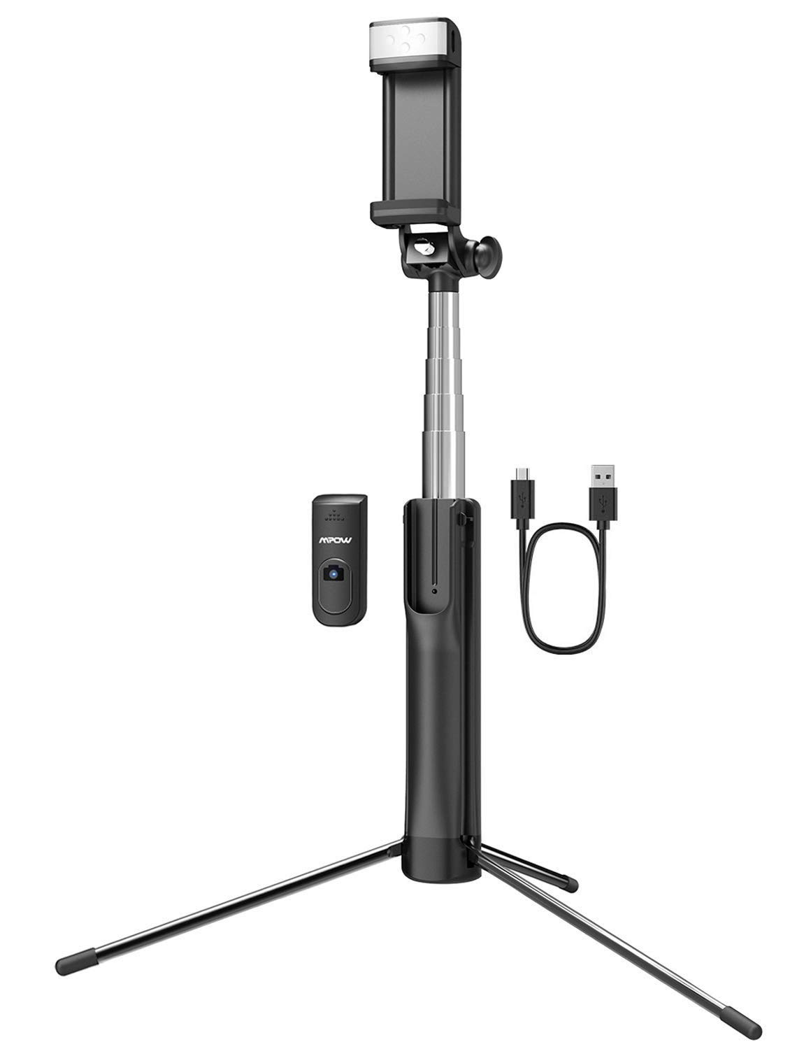 Mpow Selfie Stick Tripod, All in 1 Portable Extendable Selfie Stick with Bluetooth Remote & Fill Light, Compatible iPhone 11/11Pro/Xs max/XS/XR/X/8P/7P, Galaxy S10/S9/S8, Gopro/Small Camera,Black