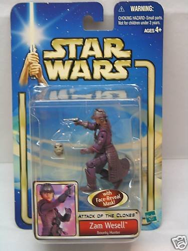 Star Wars Attack Of The Clones Zam Wesell Bounty Hunter With Face Reveal Mask Action Figure ()