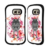 Official Monika Strigel Wolf Animals And Flowers Hybrid Case for Samsung Galaxy S6 edge