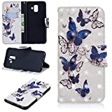 Ostop Samsung Galaxy A8 2018 Wallet Case,3D Cute Printed Pattern Leather Case Kickstand Card Holder Magnetic Flip Folio Cover,Blue Transparent Butterfly White PU