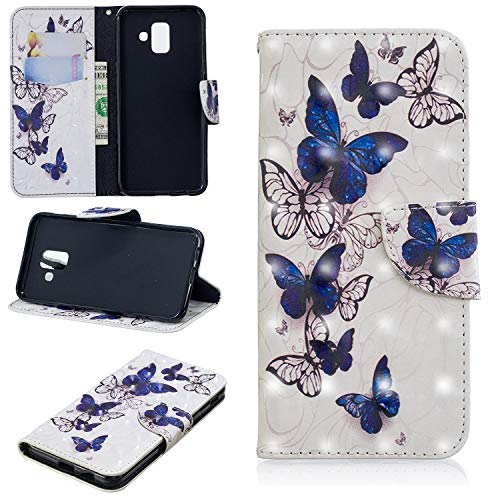 (for Samsung Galaxy A6 2018 Wallet Case with Screen Protector,QFFUN Glitter 3D Pattern Design [Butterfly] Magnetic Closure Stand Leather Case with Card Holder Shockproof Protective Flip Cover Bumper)