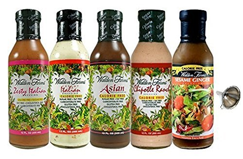 Walden Farms Salad Dressings: Chipotle Ranch, Asian, Sesame Ginger, Italian, Zesty Italian 5 Pack With -