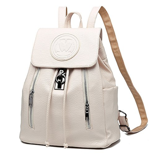 (jvp1039-m) Bag Ladies Red Rose Luc Women Pu Leather Large Bag Capacity Return Trip Back Shoulder Women Fashionable White Light Popular Suburban School, White