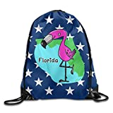 Map Of Florida With Miami Flamingo Unisex Partners Drawstring Backpack Gym Bag