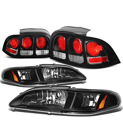 For Ford Mustang SN95 Pair of Black Housing Amber Corner Headlight + Black Altezza Style Tail Light