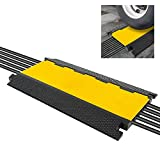 Durable Cable Ramp Protective Cover - 2,000 lbs Max Heavy Duty Cable & Hose Protector w/ Flip-open Top Cover & 5-Slot Multi-Channel Design - Cable Concealer for Outdoor & Indoor Use - Pyle PCBLCO28