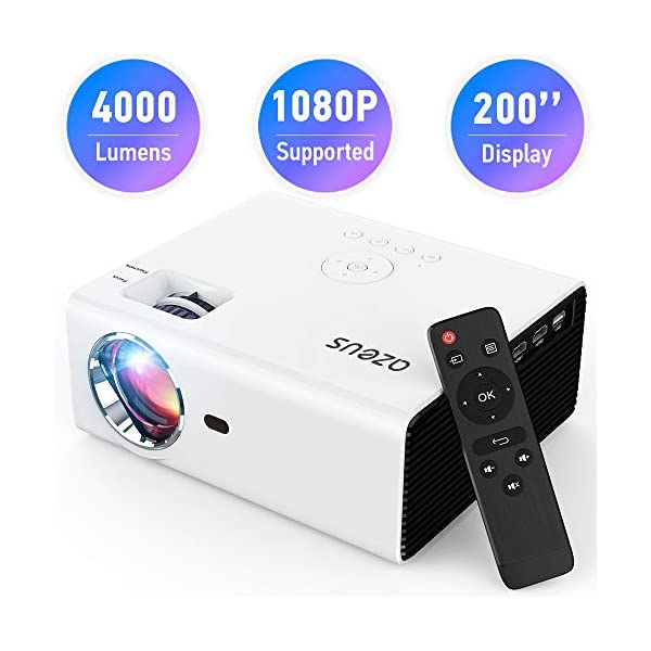AZEUS RD-822 Video Projector, 4000 Lux 1920×1080 Supported with Built-in HiFi...