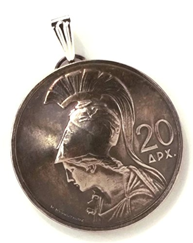 Goddess Athena Greek Jewelry,Greece Coin Pendant,1973 Coin Necklace,Goddess Jewelry,World Traveler Made in Greece Jewelry from Greece