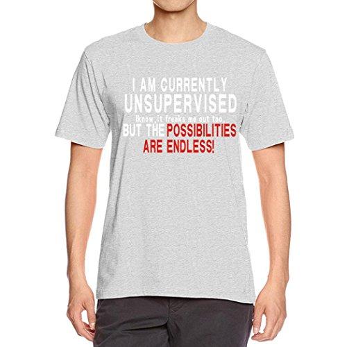 Bluestercool Hommes T-Shirts Lettres Imprimé Chemise à Manches Courtes Tops Pour Été Gris