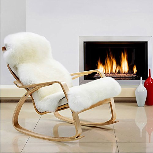 MIOLY Deluxe Soft Faux Sheepskin Fur Chair Couch Cover Shaggy Seat Pad Area Rugs for Bedroom Floor Sofa Living Room (White, 2.5 x 3.9 ft)