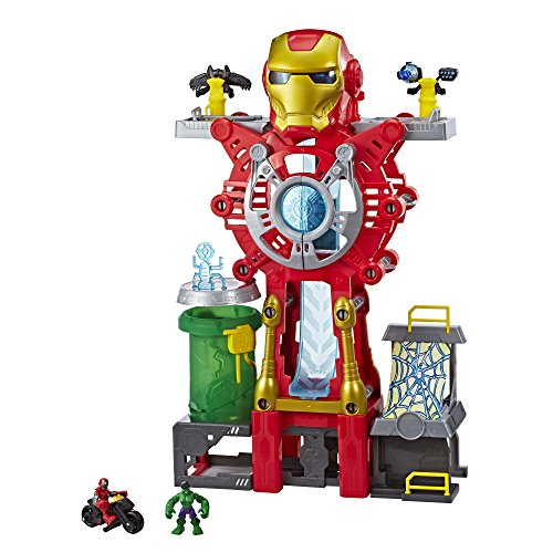"Playskool Heroes Marvel Super Hero Adventures Iron Man Headquarters Playset, Iron Man & Hulk 2.5"" Action Figures, Vehicle, Toys for Kids Ages 3 & Up"