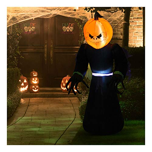 - 7ft Halloween Airblown Inflatable Pumpkin Reaper Ghost Outdoor Decorations Yard