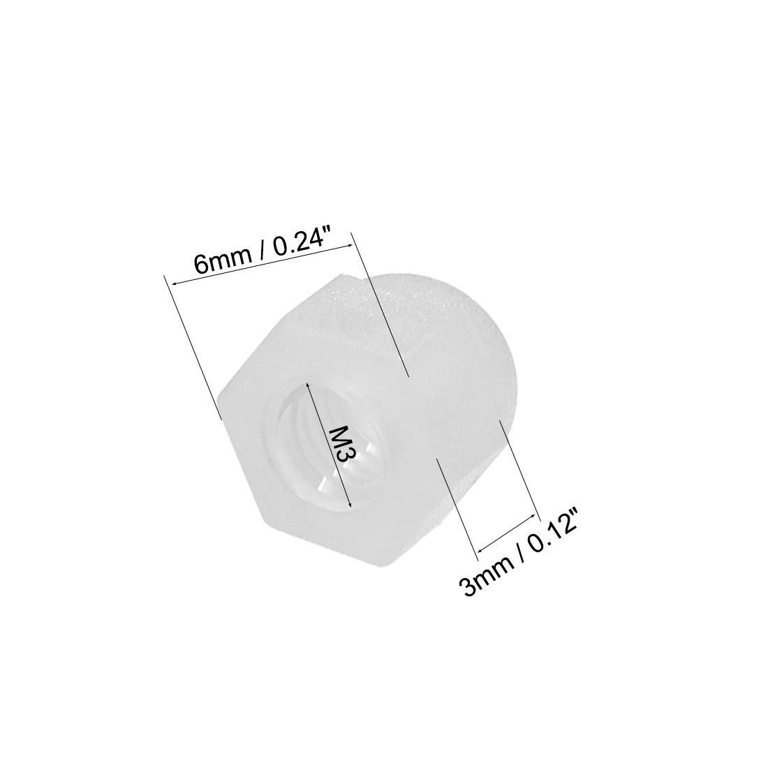 M3 Hutmutter Sechskant Kuppel Kopf Muttern f/ür Schrauben Bolzen Nylon Wei/ß sourcing map 50 Stk