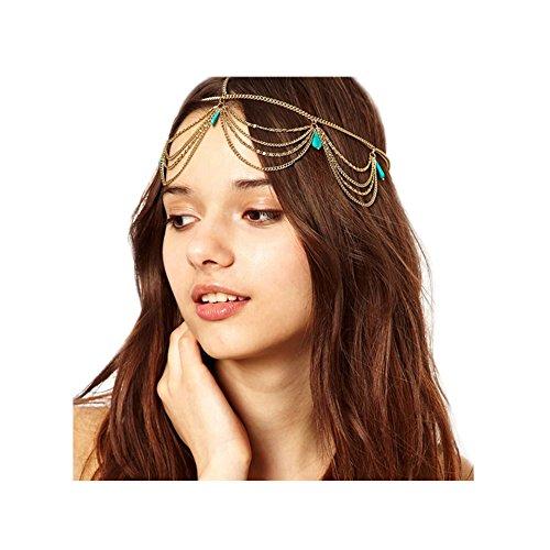 Zealmer 1 Piece Girls Head Chain Jewelry Rhinestone Headbands Chain Tassel Headpiece Jewelry Hair Band With (Gold Headpiece)