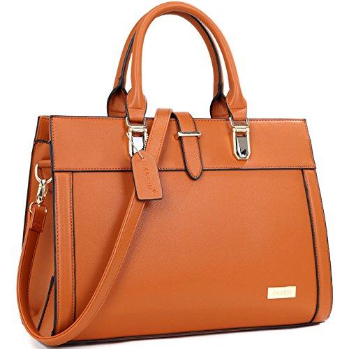 (Dasein Designer Top Handle Faux Leather Work Satchel, Shoulder Bag, Handbag, Tablet Bag, iPad Bag (8185- Brown New))