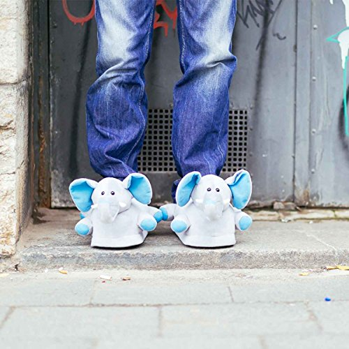 Funslippers®, Chaussons Animaux Fantaisie adultes et enfants, elephant avec semelle caoutchouc solide gris tailles 39-44
