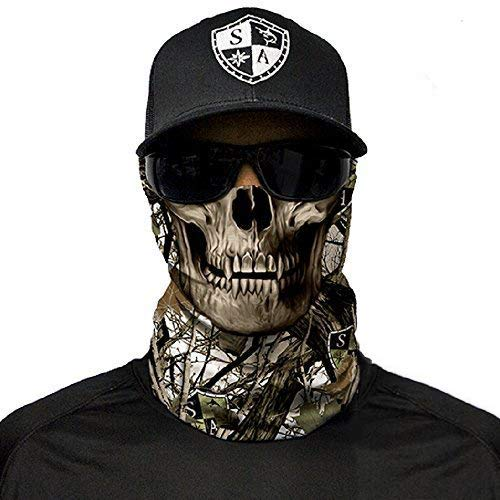 SA Company Face Shield Protect Wind, Dirt and Bugs. Keep Warm. Worn as a Balaclava, Neck Gaiter, Head Band, Doo RAG For Hunting, Fishing Running, Boating Cycling and Salt Lovers. - Snow Camo Skull