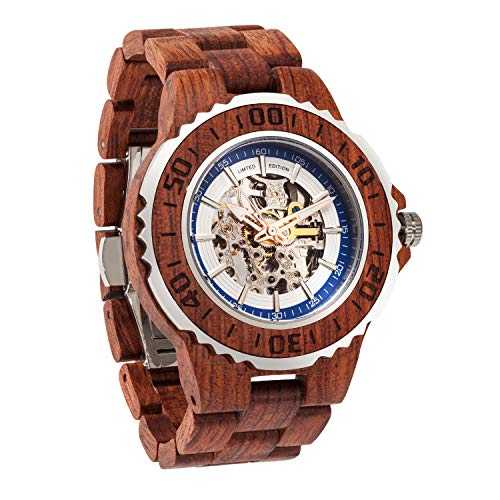 Mechanical Winding Movement Watch - Wilds Premium Mens Wooden Watch - Automatic Movement - Self Winding Mechanical Wood Watches Watch for Men - No Battery Replacement for Life - Fit to Any Wrist Size- Men Gift Idea for Any Occasion