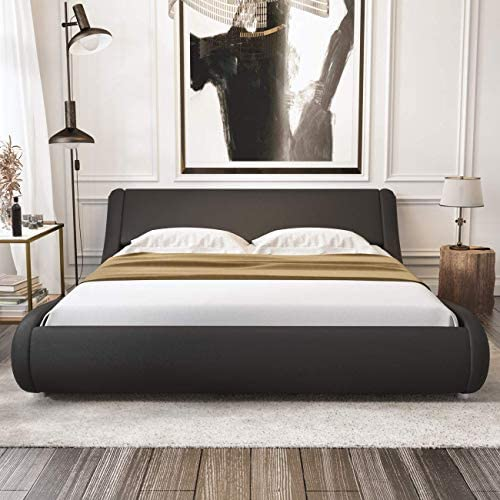 Amolife Upholstered Full Bed Frame/Deluxe Solid Modern Platform Bed/Mattress Foundation/Faux Leather Full Size Bed Frame with Adjustable Headboard and Slat Support, Black 51Q6JSmPeCL