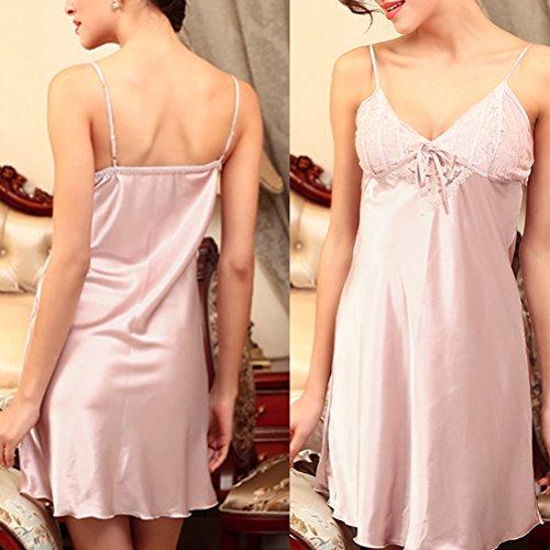 Zhhlinyuan Women's Satin Silk V-collar sling Pajamas Lingerie Night Dress Pale Lavender