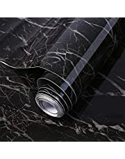 Marble Wallpaper Granite Black and Gray Kitchen Countertop Cabinet Furniture is Renovated Thick PVC practica Easy to Remove 15.7in x 118in