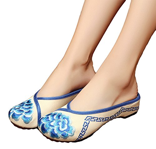 AvaCostume Womens Embroidery Round Slippers