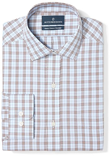 (BUTTONED DOWN Men's Classic Fit Spread Collar Pattern Non-Iron Dress Shirt, Blue/Brown Plaid, 16.5