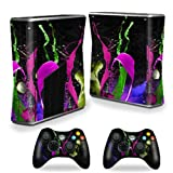 MightySkins Protective Vinyl Skin Decal Cover for Microsoft Xbox 360 S Slim + 2 Controller skins wrap sticker skins Splat