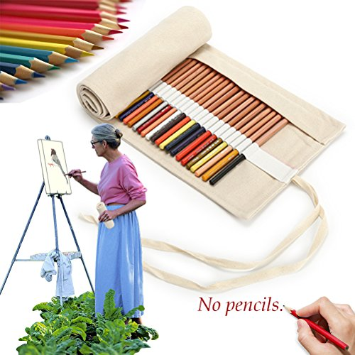 Canvas Pencil Wrap, Jewelvwatchro Pure Handmade, Travel Drawing Coloring Pencil Roll Organizer for Artistsfor Adults, Students and Children (Pencils are NOT INCLUDED) (72Holes, White)