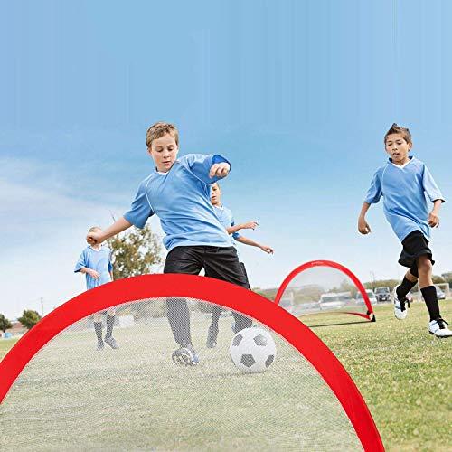 Gharpbik Portable Soccer Goal Set for Training, Practice & Game Pop-up Soccer Net, 6 Spikes & Carry Bag,Durable Fiberglass Vertical Poles, Quick Setup Easy Folding Storage 2.5 Feet