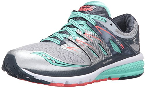 Saucony Women's Zealot Iso 2 running Shoe, Silver/Mint/Coral, 8 M US
