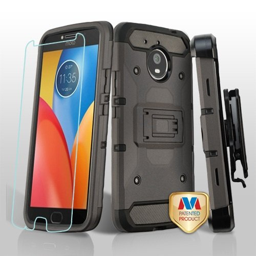 Motorola Moto E4 Plus Case, Mybat 3-in-1 Kinetic Dual Layer [Shock Absorbing] Protection Hybrid Stand PC/TPU Rubber Holster Case Cover w/Screen Protector for Motorola Moto E4 Plus, Gray/Black from MYBAT