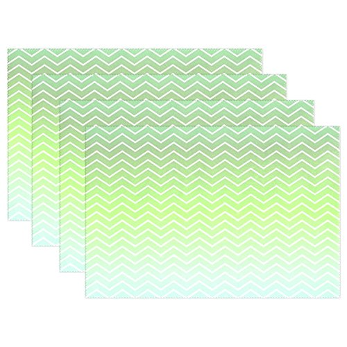 AIKENING Green Line Zigzag Pattern Chevron Chevron Pattern Placemats Set Of 4 Heat Insulation Stain Resistant For Dining Table Durable Non-slip Kitchen Table Place Mats