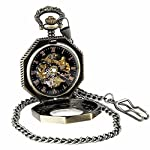 Pocket Watch with Chain Antique Gold Tone Octagon Case Steampunk Mechanical Movement + Box 4