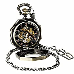 Pocket Watch with Chain Antique Gold Tone Octagon Case Steampunk Mechanical Movement + Box